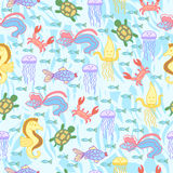 Seamless pattern with sea life. Stock Image