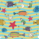 Seamless pattern of sea life on the seashore. Seamless vector pattern of sea life on the seashore with wavy alternating lines of blue and yellow depicting the Royalty Free Stock Photos
