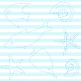 Striped seamless pattern with sea life Stock Photo