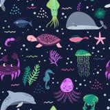 Sea life. Underwater world. Fish, jellyfish, sea bottom, backwaters ship, algae, treasure. Vector flat illustrations and. Seamless pattern sea life. Underwater Stock Photography