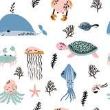 Sea life. Underwater world. Fish, jellyfish, sea bottom, backwaters ship, algae, treasure. Vector flat illustrations and. Seamless pattern sea life. Underwater Royalty Free Stock Photos