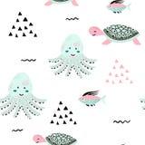 Sea life. Underwater world. Fish, jellyfish, sea bottom, backwaters ship, algae, treasure. Vector flat illustrations and. Seamless pattern sea life. Underwater Royalty Free Stock Images