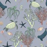 Seamless pattern sea life Royalty Free Stock Image