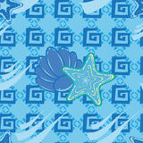Seamless pattern with sea motives Stock Photography