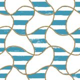 Seamless pattern sea nautical illustration. Watercolor hand drawn fashion texture with ropes. And grunge blue stripes on white background. Watercolour print for royalty free stock photo