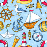 Seamless pattern with sea objects Stock Image