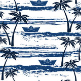Seamless pattern with sea,  palm trees and paper boats. Summer b Stock Images