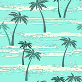 Seamless pattern with sea and palm trees. Summer background. Stock Photography