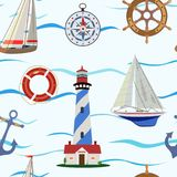 Seamless pattern on the sea and sailing theme. Vector illustration. Stock Photography