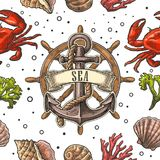 Seamless pattern sea shell, coral, crab and anchor with ribbon. Seamless pattern sea shell, coral, crab, wheel and anchor with ribbon Vector color engraving Royalty Free Stock Photo