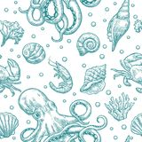 Seamless pattern sea shell, coral, crab, octopus and shrimp. Vector engraving. Cyan vintage illustrations. Isolated on white background Stock Photos