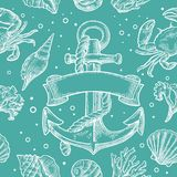 Seamless pattern sea shell, coral, crab and shrimp. Vector engraving vintage illustrations. Isolated on white background. Seamless pattern sea shell, coral, crab Royalty Free Stock Images
