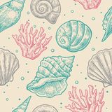 Seamless pattern sea shell.  Vector engraving vintage illustrations. Isolated on  gray background Stock Photo