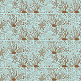 Seamless pattern sea, shells and fish Royalty Free Stock Images