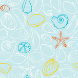 Seamless pattern with sea shells Royalty Free Stock Photo