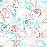 Seamless pattern with sea shells Stock Images