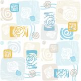 Seamless pattern with sea shells, mollusks, color, flat. Stock Photos