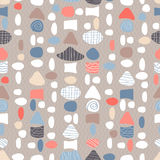 Seamless pattern with sea shells and stones Stock Photo