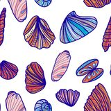 Seamless pattern with sea shells. Royalty Free Stock Photo