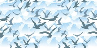 Seamless pattern with sea storm. Blue waves and silhouettes of flying seagulls in a realistic style. Vector image vector illustration