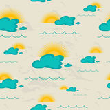 Seamless pattern with sea, sun and clouds. Royalty Free Stock Image