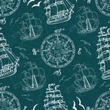 Seamless pattern with sea symbols and ships Stock Image