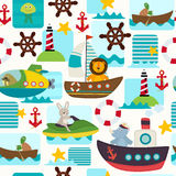 Seamless pattern sea transports with animals Stock Image