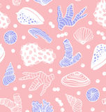 Seamless pattern with sea treasures - corals, cockleshells, stones, seaweed. Royalty Free Stock Photos