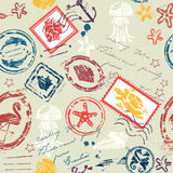 Seamless pattern with Sea and tropical elements. Rubber stamps collection vector illustration