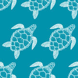 Seamless pattern with sea turtle in line art style. Hand drawn vector illustration. Ocean elements. Seamless pattern with sea turtle in line art style. Hand royalty free illustration