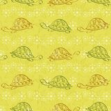 Seamless pattern, turtles and starfishes Stock Images