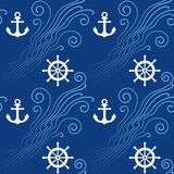 Seamless pattern with sea waves, anchor and steering wheel. Vector illustration Royalty Free Stock Photos