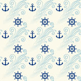 Seamless pattern with sea waves, anchor and steering wheel. Vector illustration Royalty Free Stock Image