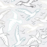 Seamless pattern with seagull silhouettes. Drawings stock illustration
