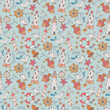 Seamless pattern with seagulls and lighthouses Stock Photo