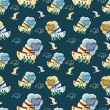 Seamless pattern with seagulls and ships Stock Photography