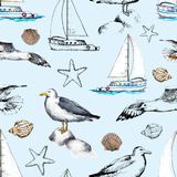 Watercolor seamless pattern with seagulls, yacht, seashells and vector illustration