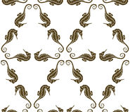Seamless pattern from seahorse silhouette. hippocampus Royalty Free Stock Image
