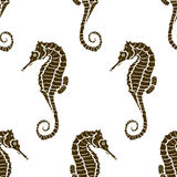 Seamless pattern seahorse silhouette. Vector hippocampus Royalty Free Stock Photo