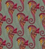 Seamless pattern of seahorses Royalty Free Stock Photo