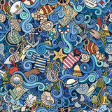 Seamless pattern sealife and marine Stock Photography