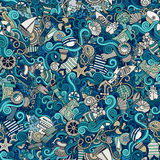 Seamless pattern sealife and marine Stock Image