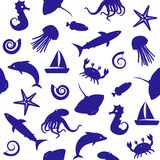 Seamless pattern with sealife silhouettes. Seamless background with small sea animals silhouettes Royalty Free Stock Photos