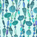Seamless pattern of seashell jewelry Stock Photos