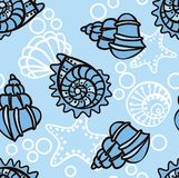 Seamless pattern with seashells. Royalty Free Stock Image