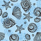 Seamless pattern with seashells. Stock Images