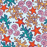Seamless pattern with seashells, corals and starfishes. Marine background. royalty free illustration