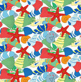 Seamless pattern from seashells Royalty Free Stock Photography