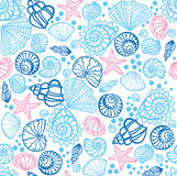 Seamless pattern with seashells. Royalty Free Stock Images