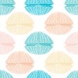 Seamless pattern of seashells Royalty Free Stock Photo